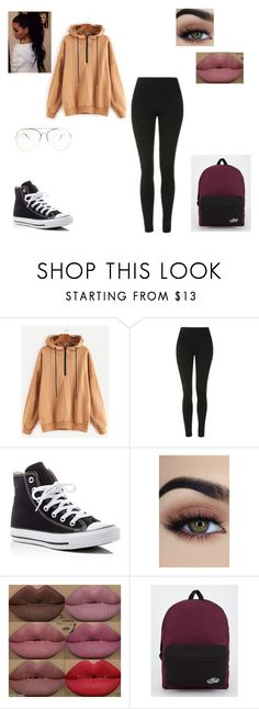 """""""Lazyish school day"""" by aaprrill ❤ liked on Polyvore featuring Topshop, Converse, Kylie Cosmetics and Vans"""