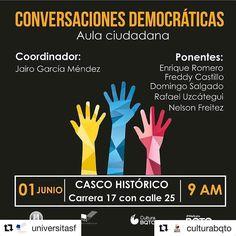 Así se construye un país! #Repost @universitasf (@get_repost)  #Repost @culturabqto  Buenos días!  Los esperamos mañana para la 2da jornada de #ConversacionesDemocratias un espacio donde #TodosSomosIguales y exponemos nuestro punto de vista. Para este jueves tendremos como invitado especial al Rafael Uzcátegui coordinador de @provea en Caracas y a un gran grupo de ponentes quienes nos dirán por qué la #DemocraciaEsUnaObraDeArte Te esperamos en la carrera 17 con calle 25 para participar en…