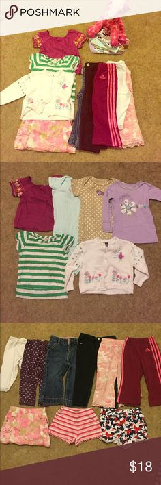 A ridiculous bundle of 18 mos clothes👌 Bundle of 18 mo girl clothes.  *Includes 2 pairs of legging, 3 pairs of pants, 1 jeans, 2 pairs of shorts, 1 skort, 2 onesies, 2 short sleeved shorts, 1 long sleeved and 1 cardigan. Brands includes Calvin Klein, Adidas, Carters, and Gerber.  Great condition!  Ran out of room trying to describe everything so feel free to reach out with any questions! Matching Sets