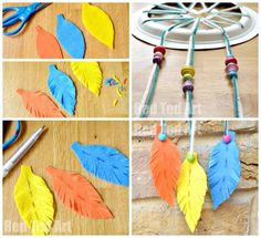 More good ideas - make felt or paper feathers instead of real feathers. Have older kids make them (or other shapes for the bottoms.) For real feathers tie a knot on the quill and push a bead over top to hide and protect the knot. Do this ahead of time for the littles. For the younger kids you can tape two strands of yarn together and as long as the holes are large enough they can thread through the holes and still have multicolored webs just as quickly as single colored webs.