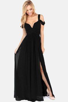 Black Chiffon Jersey Her Maxi Dress