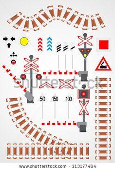 Railroad set - stock vector