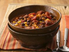 Vegetable chili!  I am not normally a bean fan, but I loved this!  We served it over rice and used all organic ingredients!  Yummy!