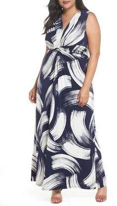 Eliza J Brush Print Jersey Maxi Dress - Plus Size