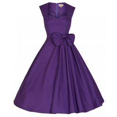 LINDY BOP 'GRACE' 50s VINTAGE SWEETHEART STYLE PURPLE PROM/COCKTAIL DRESS