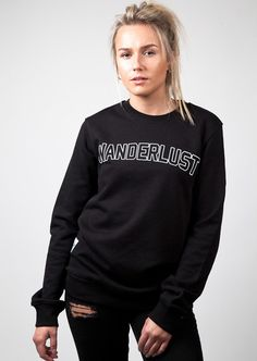 Fitted sweat with 'WANDERLUST' screen printed on front. Made from high quality jersey fleece that provides a soft and comfortable fit.  Constructed from premium jersey fleece fabric with an inner fleece lining, 65% cotton 35% polyester.  Fitted.