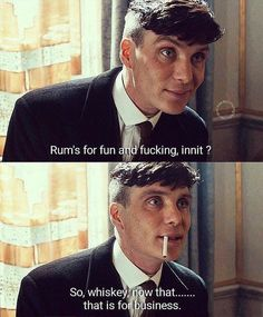 """Peaky Blinders Quotes shared a post on Instagram: """"What's your favorite drink? #ThomasShelby #PeakyBlinders"""" • Follow their account to see 323 posts."""