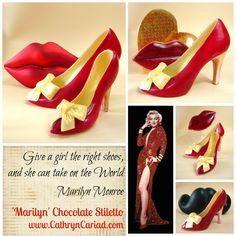 Marilyn Chocolate Stiletto Shoes - Heels available from Cathryn Cariad chocolates - www.CathrynCariad.com