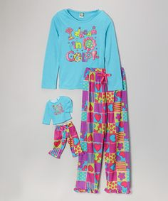 Loving this Dollie & Me Turquoise 'In Color' Pajama Set & Doll Outfit - Toddler & Girls on #zulily! #zulilyfinds
