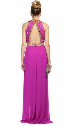 VIRGOS LOUNGE - Vestido largo rosa fucsia con vuelo, sin espalda y con lentejuelas - Pink fuchsia embellished long dress - Dresseos