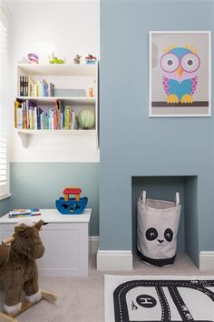 An inspirational image from Farrow and Ball. Really fun boys room with half painted walls and the chimney breast painted in Dix Blue. By Clare Elise Interiors Boys Bedroom Colors, Boys Bedroom Paint, Bedroom Ideas, Boy Toddler Bedroom, Boy Room, Toddler Playroom, Dix Blue Farrow And Ball, Farrow Ball, Blue Playroom