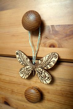 Pyrography Wood Burnt Decorative Butterfly Wall by KtSBdecorations, £5.00