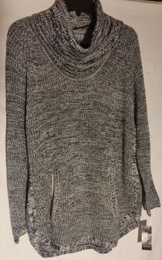 Womens Size 2X Cowl neck Shirt Sweater with pockets Grey Black White(J014)…
