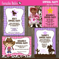These fun templates are perfect for our little cowgirl birthday party invites,  Thank you cards, Scrapbooking and many more!!.