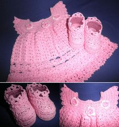 Conjuntinho em linha composto por 01 vestido e 01 par de sapatos para recém nascido. R$75,00