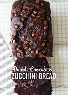 A rich double chocolate zucchini bread with chocolate chips recipe. You will never know there is zucchini in this chocolate bread! It is moist, rich, and a chocolate lover's dream! Chocolate Zucchini Cookies, Healthy Chocolate Zucchini Bread, Best Moist Chocolate Cake, Zucchini Bread Recipes, Zucchini Cake, Chocolate Chip Recipes, Chocolate Chocolate, Decadent Chocolate, Moist Zucchini Bread