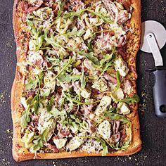 Artichoke and Arugula Pizza with Prosciutto | MyRecipes.com