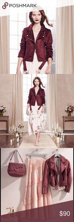LAUREN CONRAD Runway Collection Wine Moto Jacket NWT LC LAUREN CONRAD Runway Collection wine faux-suede moto jacket adds a fashionable edge to your outfit! Rich faux-suede construction and motorcycle styling combine for a modern look and feel.  *  *Rose gold metal accents add a romantic touch *Asymmetrical zipper front *Long sleeves with zippered cuffs *Lined *2-pocket *Coordinating belt FABRIC & CARE *Polyester *Machine wash  *Bundle Discounts * No Trades * Smoke free LC Lauren Conrad…