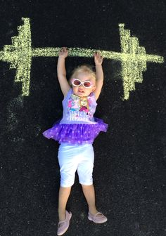 Chalk art in the driveway photos weightlifting