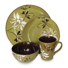 American Atelier 16 Piece Mirabel Dinnerware Set In Green Square