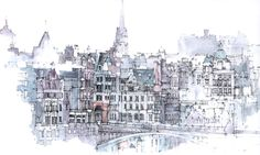 love this architectural watercolor of Edinburgh by Simone Ridyard