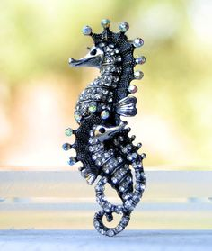 Seahorse Brooch Pin. Crystal Seahorses Broach Beach Jewelry Gift