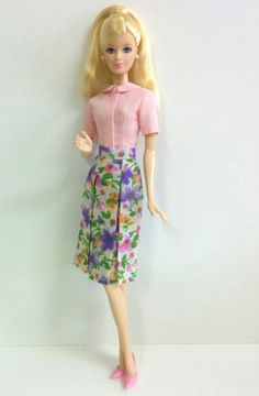 Pink Top & Floral Skirt for Model Muse Barbie by SKSungDesigns