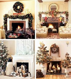 4 different Christmas mantel themes... Greenery with fruit, Traditional red and green, Frosty Penguins and Au Natural with pinecones.