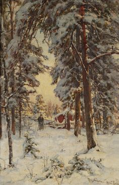 Wood Gatherer in a Wintry Forest, 1904, Yuli Yulievich Klever