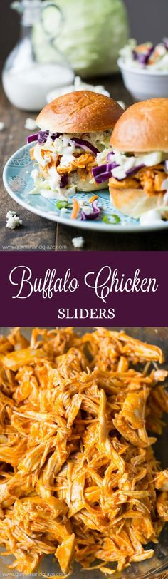 Slow-cooker Buffalo Chicken Sliders are filled with spicy tender chicken and refreshing crisp coleslaw.