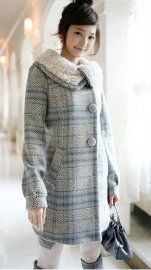 Long Sleeve Fashion Checks Warm Lovely Coat    $47.04