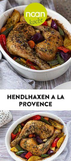 Saftig leckere Hendlhaxen mit Kräutern der Provence und frisch gebackenem Ofengemüse sind ein Genuss für die heurige Fastenzeit. My Favorite Food, Favorite Recipes, Kraut, Chicken, Lenten Season, Fresh, Food Food, Cubs