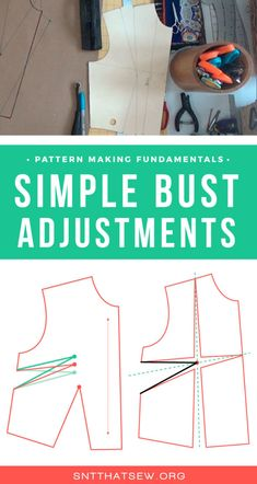 How to perform simple bust adjustments to your bodice block Sewing Lessons, Sewing Hacks, Sewing Tutorials, Sewing Projects, Sewing Tips, Bodice Pattern, Jacket Pattern, Sew Pattern, Pattern Cutting
