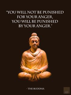 """You will not be punished   for your anger,   you will be punished   by your anger.""      - The Buddha"