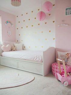 Amelie's Soft Pink and Gold Toddler Bedroom Girls Bedroom Decor Simple Bedroom Design, Girl Bedroom Designs, Big Girl Bedrooms, Little Girl Rooms, Bedroom Girls, White Bedrooms, Diy Bedroom, Pink Girl Rooms, Toddler Bedroom Ideas