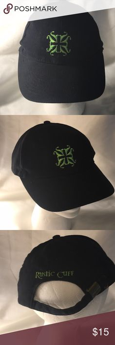 Rustic Cuff trucker hat baseball cap black green Has a adjustable fit & one size fits most. Black with mint green logo.  Worn a couple times. No longer available at RC. Thanks for looking. Rustic Cuff Accessories Hats
