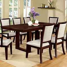 Garrison Transitional Style Espresso Finish 9-Piece Dining Table Set