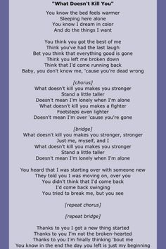 Kelly Clarkson has helped me so very much with healing with words and music like this! All Lyrics, Country Music Lyrics, Song Lyric Quotes, Me Too Lyrics, Music Quotes, Song Lyrics, Rap Songs, Songs To Sing, Music Songs
