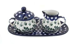 Polish Pottery Alyce Small Cream  Sugar Set with Tray *** Check out the image by visiting the link. (This is an affiliate link) #BakersPansPlates