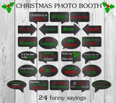 Instant Download – Christmas Photo Booth Signs - Funny Christmas Sayings - Speech Bubbles
