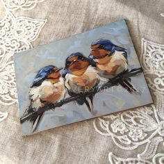 "'BFF's' these little guys are now available in my shop. Link in profile. 5x7"" oil on flat panel. Ready to ship. #barnswallow #birds #birdsnest #oilpainting #artforsale #birdart #brushstrokes #colorfulart #nature #birdlover #birding #nests..."
