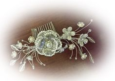 Bespoke bridal hair comb-sparkles and pearls www.byanamaria.co.uk