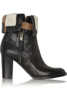 Burberry Shoes & Accessories Shearling-lined leather boots | NET-A-PORTER