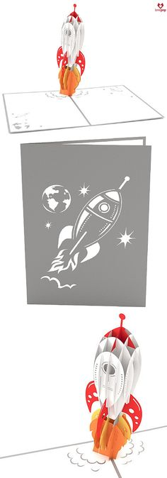 Gift someone special a paper art rocket ship that will blow them away. This pop up card is perfect for any occasion. #HappyFathersDay #Graduation