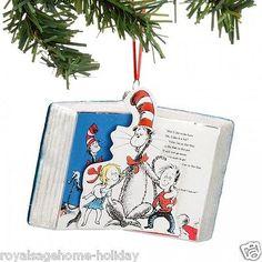 55b4c653 Dept. 56 Dr. Seuss Cat in the Hat Christmas Book Glass Ornament Ornaments  Design