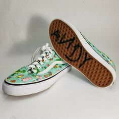 9455439172 Toy Story Andy s Toys Vans Unisex Size 4 5.5 Mint and White Sneakers Shoes