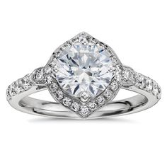 Art Deco halo engagement ring in platinum by Monique Lhuillier at Blue Nile.