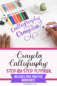 How to do calligraphy with Crayola Markers step-by-step tutorial by Vial Designs Crayola Calligraphy, How To Do Calligraphy, Calligraphy Markers, Calligraphy Tutorial, Hand Lettering Tutorial, Calligraphy Writing, Modern Calligraphy Alphabet, Pencil Calligraphy, Calligraphy Worksheet