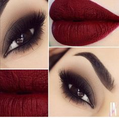Smokey eyes & dark red matte lips, gorgeous look for a cool fall night out!