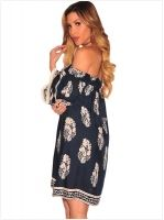 Cheapest Dress Fashionable Sexy Wrap Chest Shoulder Long Sleeve Chic Printed Dress As The Picture